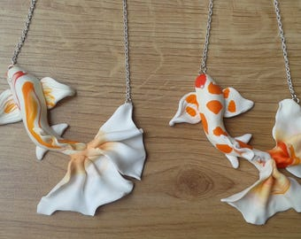Koi fish handmade cameo necklace,white and orange fish. Handmade fimo clay