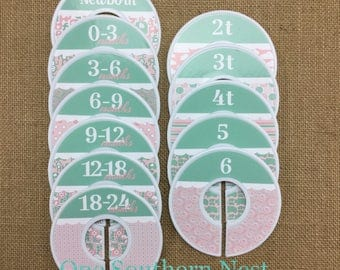 Closet Dividers, Baby Shower Gift, Newborn Baby Gift, Baby Girl Gift, size dividers, mint green, pink, white, elephant, jungle