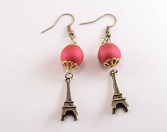 Eiffel tower earrings, red and golden bronze