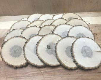 "Oak 80 Rounds ~ 2 1/2 to 2 3/4"" x 1/4""  ~ Live edge ~Wood Slices ~Natural Edge~ Wood Coasters  ~ Wood Burning ~ Tree Cookies ~"
