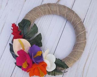 Tropical felt flower summer wreath, 10 inch wreath, burlap wreath, tropical wreath, summer wreath, summer decor, tropical decor