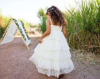 Rustic Flower Girl Dress, Boho Flower Girl Dress, First Communion Dress, White Lace Dress, Ruffle Dress, Couture Dress