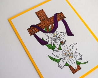 Easter Cross Card - Happy Easter - God Card - Sympathy Card - Thinking of You Card - Christening Card - Baptism Card - Encouragement Card