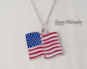 American Flag Necklace - Patriotic Necklace - United States of America - Antique Silver Jewelry - Independence Day Gifts