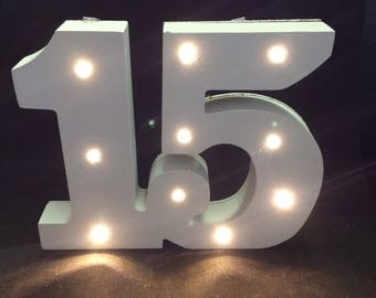 Wooden Marquee number 15 sign- Freestanding white light up number 15- 15 years- 15 anos- wedding number lights- birthday top table numbers.