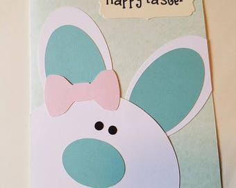 Cute Easter Card- Easter Card - Happy Easter Card - Easter Bunny Card -  Card for Easter - Handmade Greeting Card - Pretty Easter Card