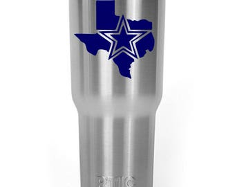 Dallas Cowboys Texas Decal Sticker For Yeti RTIC Ozark Trail Rambler Tumbler Coldster Cooler