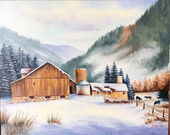 Winter Farm Oil Painting, Cows in Winter, Snow Farm Mountains, Mountain Farm in Winter Painting, Southwest Art, Home Decor