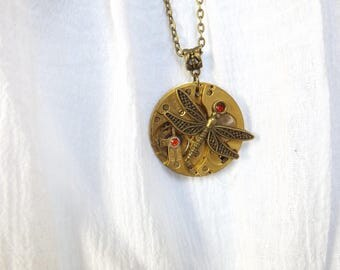 """Long necklace steampunk watch movement Dragonfly """"doubt flies"""""""