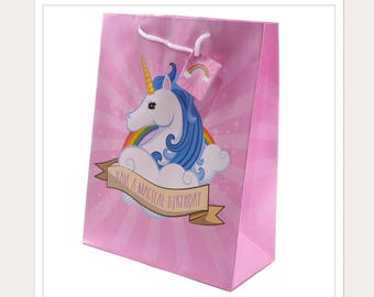 Pink Unicorn Face Gift Bag (medium)