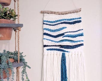 White & Blue Woven Wall Hanging | Blue and White Woven Wall Hanging | White Wall Tapestry | White and Blue Yarn Wall Hanging