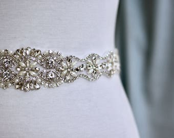 Rhinestone wedding belt, Bridal Sash, Wedding Belt, Wedding Sash Rhinestone and Pearl Sash