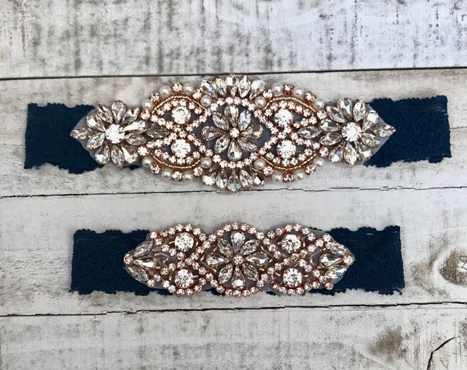 Rose gold Bridal Garter, navy garter, NO SLIP Lace Wedding Garter Set, bridal garter set, vintage something blue