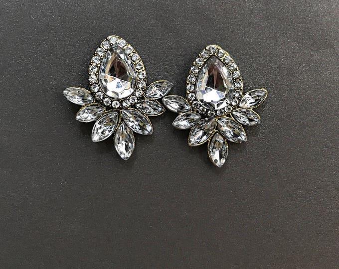 Crystal teardrop earrings Vintage gold bridal earrings rhinestones, pageant earrings