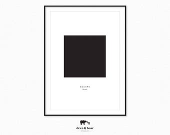 Black Minimal Square Poster Modern Geometric Minimalist Home Decor Scandinavian Design Large Wall Art Nordic Scandi Chic Style Digital File