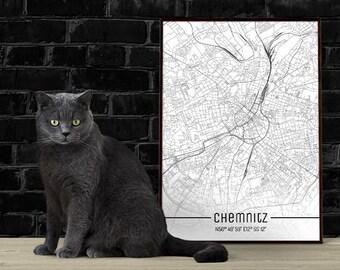 Chemnitz-Just a map-din A4/A3-Print