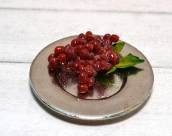 1:12 Scale dollhouse miniature pewter plate with bunch of red grapes