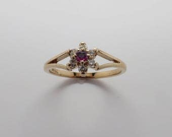 Ladies 10K Vintage New YG Genuine Ruby surrounded by Diamonds Delicate Cluster Ring