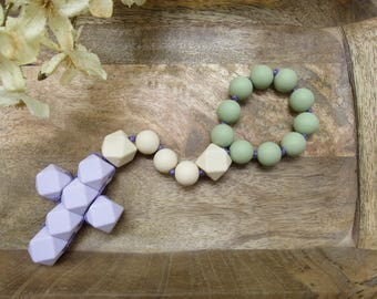 Baby rosary etsy catholic easter gift for baby and children chewable rosary teething rosary great for easter baskets negle Images