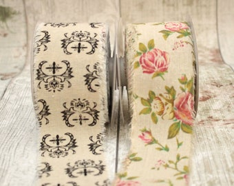 Burlap Ribbon, Fringed Edge Burlap, 60mm Wide Burlap, Shabby Chic Ribbon, Vintage Look Ribbon.