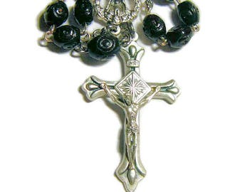 Tenner Rosary, One Decade Rosary, Black Carved Wood Beads, Pocket Rosary, Catholic Rosary