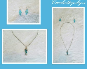 Juniors/Women's Jewelry Set:  Necklace with Seahorse Pendant Set & Earrings