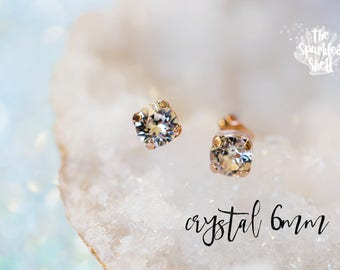 Crystal Swarovski Rose Gold Stud Earrings - 6mm