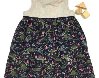 2T Girls Cotton/Linen Geranium Dress