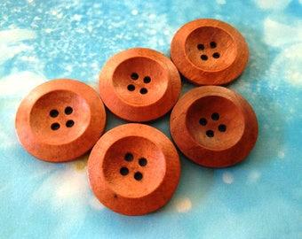 10 Natural Wood Buttons Brown Wooden Buttons 25 mm Buttons Round Sweater Coat Buttons Craft Sewing Scrapbooking Knitting Crochet Supplies