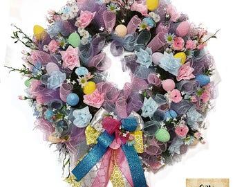 Easter Wreath, Spring Wreaths for Front Door, Pink Spring Summer Wreath, Easter Wreath, Spring Decor, Rose Door Wreath