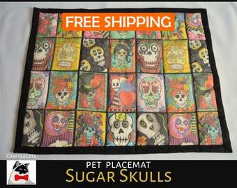 Halloween pet bed 'Sugar Skulls' large catnip sitting mat / blanket for cats & kittens - cat bed with catnip - Halloween bedding