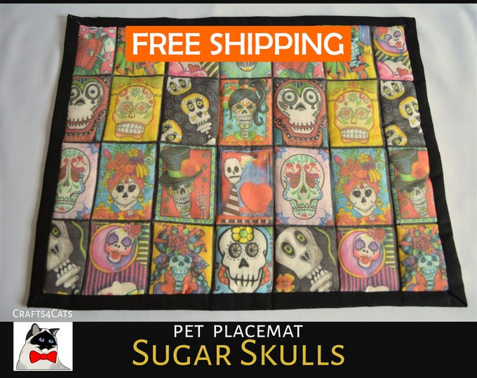 Featured listing image: Halloween pet bed 'Sugar Skulls' large catnip sitting mat / blanket for cats & kittens - cat bed with catnip - Halloween bedding