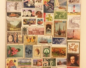 Postage Stamp covered A4 notebook
