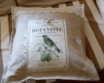 Pillow, linen and linen with Scriptures and bird and vintage eyelet
