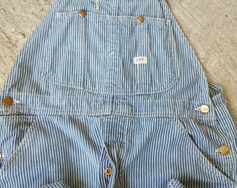 Vintage 60's LEE Denim Striped Union Made Usa Railroad Hickory Overalls