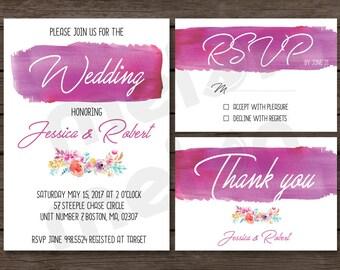 Pink Wedding Invitation - Purple Wedding Invitation - Modern Wedding Invitations - Invite with RSVP and Thank You Card - Printable Design