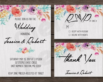 Floral Wedding Invitation -  Rustic Wedding Invitation - Floral - Vintage - 5x7 Invite with RSVP and Thank You Card - Printable Design