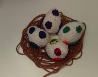 Egg Cat Toy, Crocheted Cat Toy, Kitten Toy, Crocheted Egg, Dinosaur Egg, Catnip Toy, Crinkle Cat Toy, Amigurumi Egg, Green, Blue, Purple