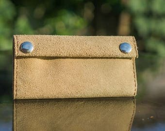 Leather tobacco pouch camel brown and beige