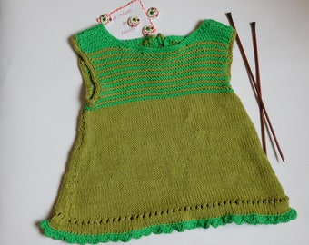 Baby 3 months cotton baby dress hand knitted