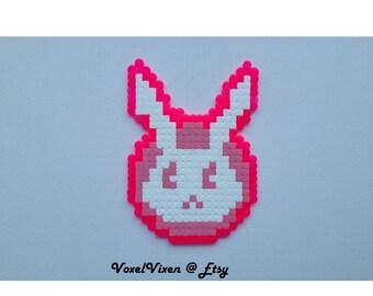 Overwatch D.Va GG Pixel Rabbit Bunny Spray Perler Bead Coaster