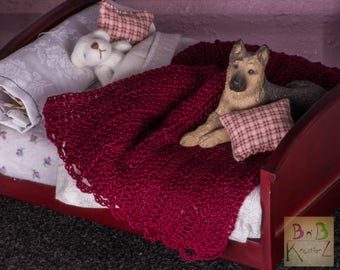 Miniature Crocheted Blanket (Burgundy) -- Dollhouse Miniature 1:12 Scale