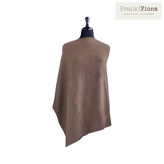 100% Organic Cashmere Poncho, Grade A Mongolian Cashmere,Christmas present,28x28inches,Brown,Knitted Poncho,Cozy Winter Coat,Eco Friendly,PB