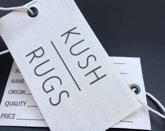 custom fabric swing tag, fabric hang tag printing, cotton fabric swing tags