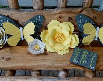 Girls Nursery Yellow and Gray  Butterfly and Flower Themed Wall Decor