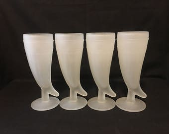 Tiara Frosted Glass Vining Horn Mugs, Beer Steins, Beer Glasses, 8 oz Glasses