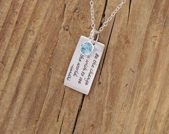 Sterling Silver Gandhi Inspirational Quote Necklace Birthstone Charm Personalized