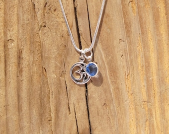 Sterling Silver Tiny Ohm Birthstone Charm Necklace Personalize Hindu Buddhism