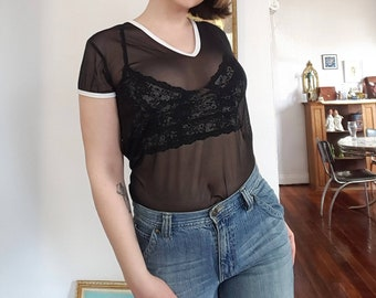 Vintage Sheer Mesh V-Neck T-Shirt