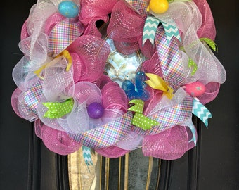 Extra large pink and white deco mesh Spring and Easter Wreath